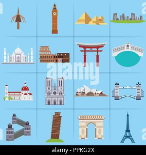 World famous landmarks icons set vector - Stock Photo