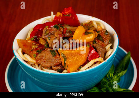 Usbek cuisine - lagman  with meat - Stock Photo