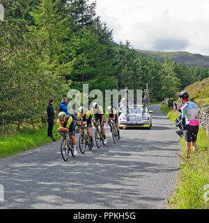 Stage 5 Tour of Britain 2018, Team Time Trial, Whinlatter Pass Cumbria. Caleb Ewan leads team Michelton Scott on the final uphill section. - Stock Photo