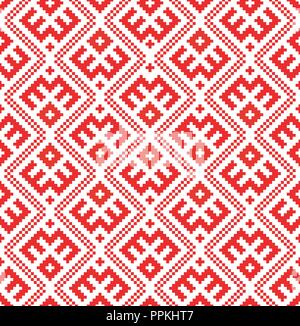 Seamless pattern based on traditional Russian and slavic ornament - Stock Photo
