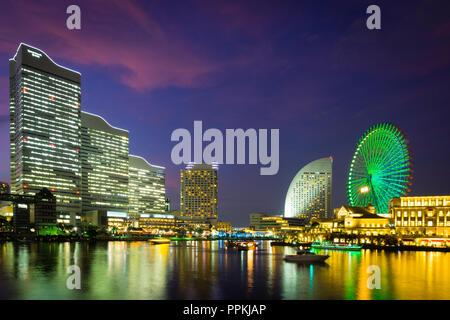 The beautiful Yokohama skyline and Yokohama waterfront at Minato-Mirai, and the Cosmo Clock 21 Ferris wheel  Yokohama, Kanagawa Prefecture, Japan. - Stock Photo