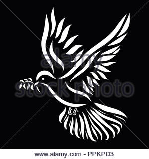 Flying dove with a twig in its beak, white pattern on a black background - Stock Photo
