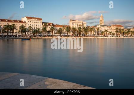 Split waterfront long exposure, Croatia. - Stock Photo