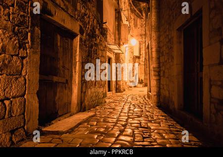 Medieval streets of Trogir old town, Dalmatian coast, Croatia. - Stock Photo