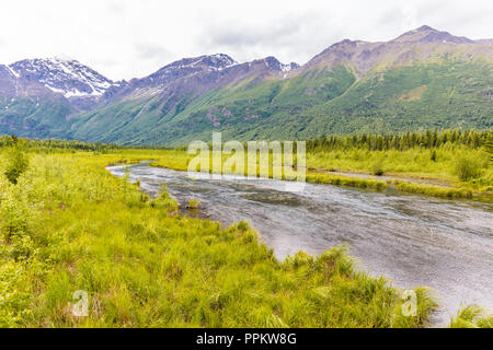 View of freash water spring fed creek in the Eagle River Nature Center in Eagle River Alaska - Stock Photo
