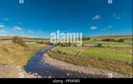 North Pennines AONB panoramic landscape, looking north over Harwood Beck to the remote farming hamlet of Langdon Beck, Upper Teesdale, County Durham - Stock Photo