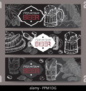 Three landscape beer banners with beer keg, mug, chips, nuts, hop branch and snack plate on black. - Stock Photo