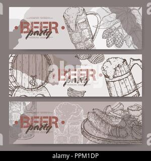 Three landscape beer party banners with beer keg, mug, chips, hop branch and snack plate. - Stock Photo