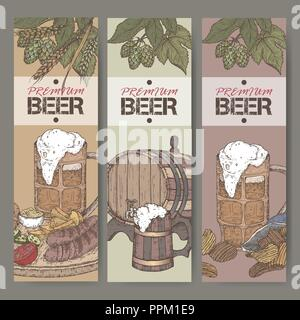 Three color beer labels with beer keg, mug, chips, hop branch, wheat and snack plate. - Stock Photo