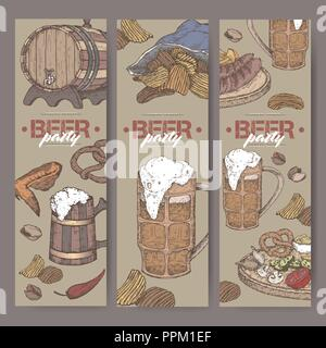 Three color beer party banners with beer keg, mug, chips, nuts, chicken wings, hop branch and snack plate. - Stock Photo