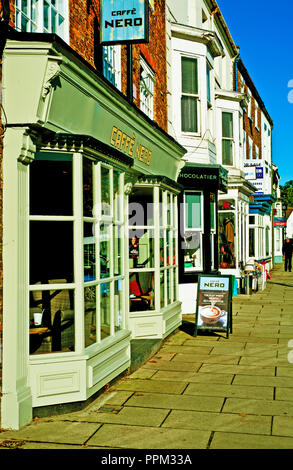 Cafe Nero and shops, High street, Yarm on Tees, North England - Stock Photo