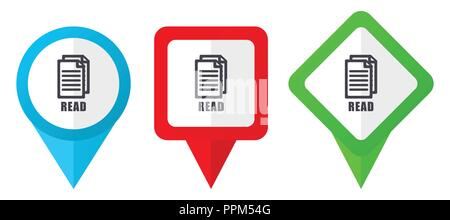Read red, blue and green vector pointers icons. Set of colorful location markers isolated on white background easy to edit. - Stock Photo