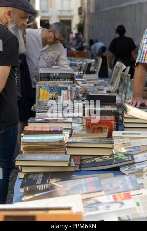 LISBON, PORTUGAL, September 01, 2018: Rua Anchieta weekend book market Chiado district. - Stock Photo