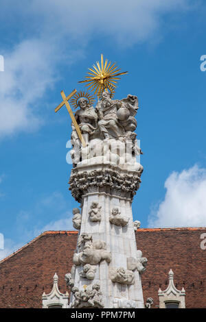 Holy Trinity statue commemorates victims of the Black Plague in Budapest, Hungary - Stock Photo