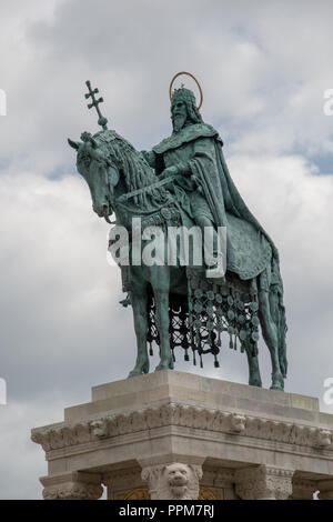 Bronze equestrian statue of King Stephen I of Hungary in Buda Castle District - Stock Photo