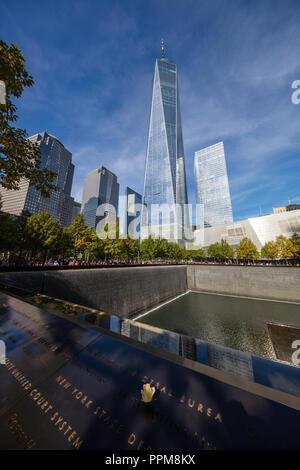 WTC 9/11 Memorial Plaza, One World Trade Center, Lower Manhattan, New York City - Stock Photo