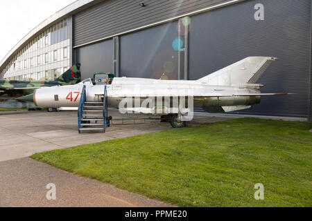 Ex East German Air Force MiG-21 PFM Fishbed-F on display at the Aviodrome Aviation Theme Park. - Stock Photo