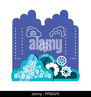 cloud computing network set icons vector illustration design - Stock Photo