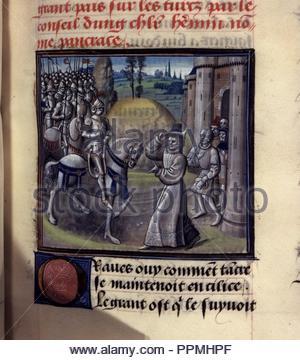 BNF Mss fr 68 folio 44. - Stock Photo