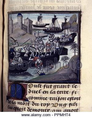 BNF, Mss fr 68, folio 340. - Stock Photo
