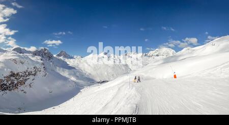 Panorama of ski slopes at Tignes, ski resort in the Alps, France - Stock Photo