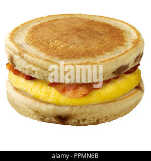 Pancake Egg and Bacon Sandwich - Stock Photo