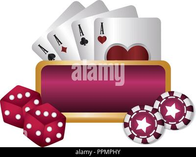 casino poker empty board dices chips and cards vector illustration - Stock Photo
