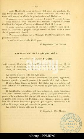 Bollettino della Società dei naturalisti in Napoli (Page 63) - Stock Photo