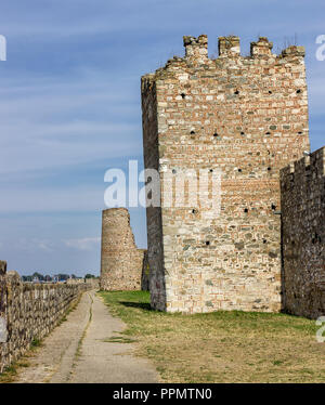 Smederevo fortress view from outside and leaning tower - Stock Photo