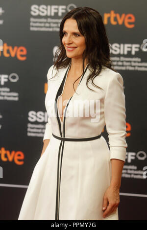 San Sebastian, Spain. 25th Sep, 2018. Juliette Binoche attends the Vision premiere during the 66th San Sebastian film festival Kursaal terrace in San Sebastian, Spain on the 24th of September 2018. Credit: Jimmy Olsen/Media Punch **No Spain***/Alamy Live News - Stock Photo
