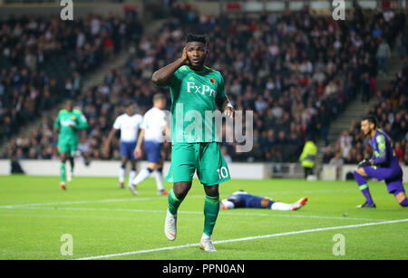 London, UK. 26th September 2018. during the Carabao Cup Third Round match between Tottenham Hotspur and Watford at Stadium mk on September 26th 2018 in Milton Keynes, England. Credit: PHC Images/Alamy Live News - Stock Photo