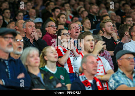 London, UK. 26th September, 2018. Carabao EFL Cup, Third round, Arsenal v Brentford ; Brentford fans react at the Emirates.  Credit:  Georgie Kerr/News Images  English Football League images are subject to DataCo Licence Credit: News Images /Alamy Live News - Stock Photo