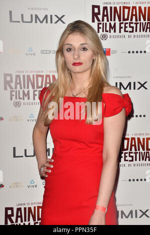 London, UK. 26th September, 2018. Veronica Osimani is a British/Italian actress attends the Raindance Opening Gala 2018 held at Vue West End, Leicester Square on September 26, 2018 in London, England. Credit: Picture Capital/Alamy Live News - Stock Photo