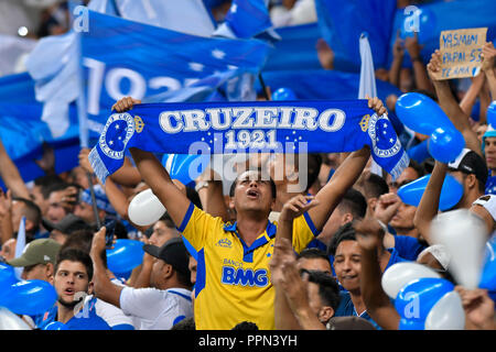 Belo Horizonte, Brazil. 26th Sep, 2018. Cruzeiro fans during a match between Cruzeiro and Palmeiras, valid for the Brazil Cup, held at the Mineirão stadium. Credit: Daniel Oliveira/FotoArena/Alamy Live News - Stock Photo