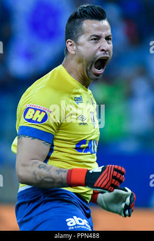 Belo Horizonte, Brazil. 26th Sep, 2018. Goalkeeper Fábio do Cruzeiro during match between Cruzeiro and Palmeiras, valid for the Brazil Cup, held at the stadium Mineirão. Credit: Daniel Oliveira/FotoArena/Alamy Live News - Stock Photo