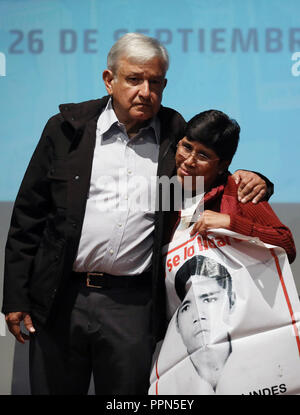 Mexico City, Mexico. 26th Sep, 2018. Mexican President-elect Andres Manuel Lopez Obrador (L) takes part in a meeting of relatives of the 43 missing students of a teachers' college in Ayotzinapa, Guerrero, in the Museum of Memory and Tolerance, in Mexico City, capital of Mexico, on Sept. 26, 2018. Credit: Miguel Tovar/Xinhua/Alamy Live News - Stock Photo