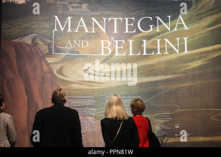 London UK. 27th September 2018. Giovanni Bellini. Press Preview at the National Gallery with rare collections of paintings  by Italian Renaissance artists Giovanni  Bellini from Venice and Andrea Mantegna from Padua who together  shaped the art of Renaissance Credit: amer ghazzal/Alamy Live News - Stock Photo
