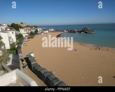 Broadstairs, Kent. 27th Sept 2018. UK Weather: Some people enjoying a sunny and warm day in late Autumn at Viking Bay in Broadstairs on the North Kent coast in England Great Britain UK Credit: Shaun Higson - Image Collection/Alamy Live News - Stock Photo