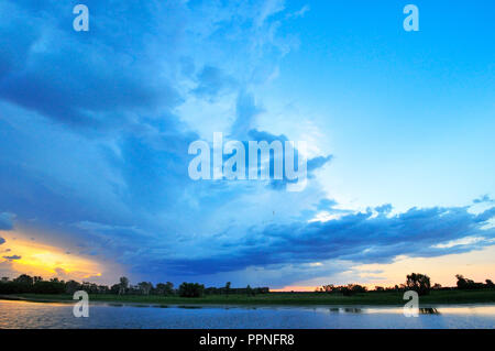 Sunset over the Yellow Water Billabong, Northern Territory, Top End, Australia - Stock Photo