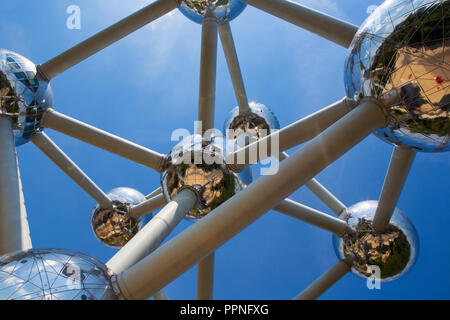 The Atomium, a landmark building in Brussels, Belgium originally constructed for the 1958 Brussels World's Fair. - Stock Photo
