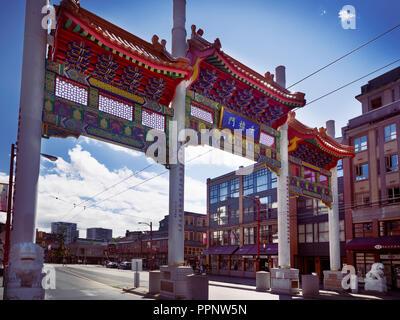Chinatown Millennium Gate on Pender Street, Vancouver, British Columbia, Canada - Stock Photo