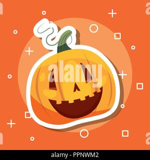 halloween celebration day symbols pumpkin smiling vector illustration - Stock Photo