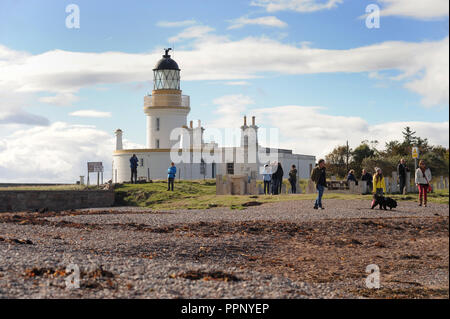 CHANNORY POINT LIGHTHOUSE ON THE BLACK ISLE NEAR ROSEMARKIE IN ROSS AND CROMARTY SCOTLAND UK RE BEACHES SCOTTISH CAMPING - Stock Photo