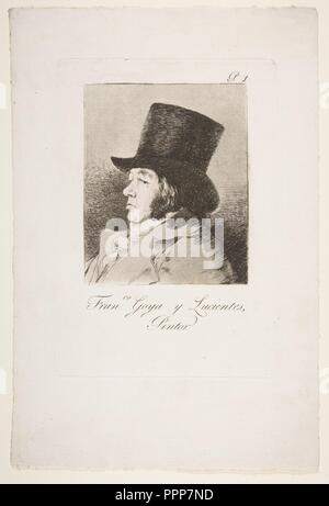 Plate 1 from 'Los Caprichos': Self-portrait of Goya (Franco. Goya e Lucientes, Pintor). Artist: Goya (Francisco de Goya y Lucientes) (Spanish, Fuendetodos 1746-1828 Bordeaux). Dimensions: Plate: 8 9/16 × 5 7/8 in. (21.7 × 15 cm)  Sheet: 12 5/16 × 8 3/16 in. (31.2 × 20.8 cm). Series/Portfolio: Los Caprichos. Sitter: Goya (Francisco de Goya y Lucientes) (Spanish, Fuendetodos 1746-1828 Bordeaux). Date: 1799.  The portrait is the first print in Goya's series of eighty etchings titled Los Caprichos and published in Madrid in 1799. The prints deal broadly with superstition and human folly. They were - Stock Photo