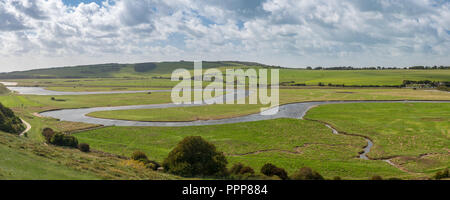 Meandering Cuckmere River at Seven Sisters Country Park - Stock Photo