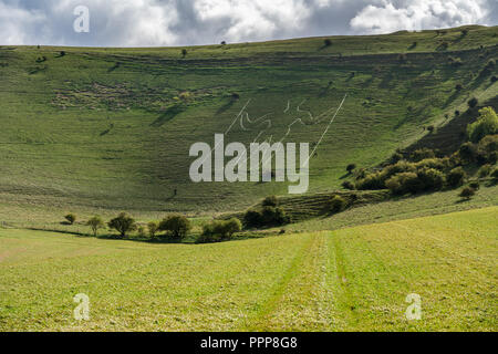 Wilmington Long Man in Cuckmere Valley near Eastbourne - Stock Photo