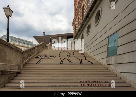 VIENNA, AUSTRIA - JUNE 27, 2015: Albertina Museum during the exhibition of artists - Stock Photo