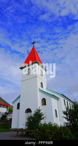 Curch of Patreksfjörður in Westfjords Region, Iceland - Stock Photo