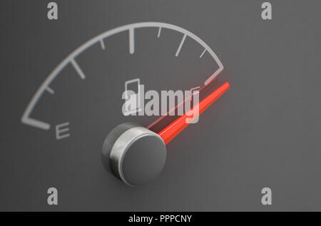 A closeup of a petrol gas gage showing the needle at full on a dark reflective background with copy space - 3D render - Stock Photo
