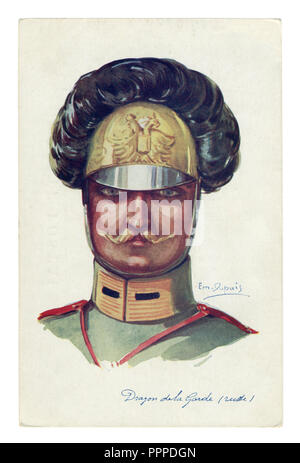 French historical postcard: portrait of a Cavalryman-Dragoon of the Imperial Russian guard, handsome man with a thin mustache, world war one 1914-1918 - Stock Photo